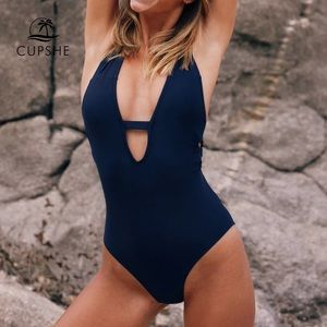CUPSHE one piece navy blue bathing suit